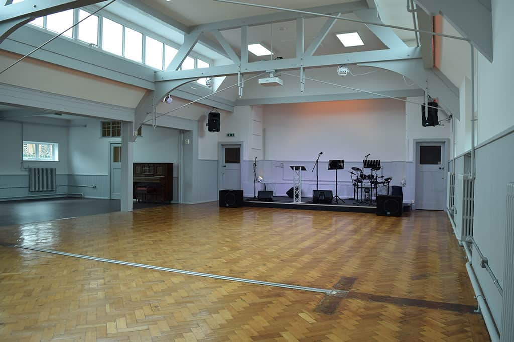 Empty Church Hall from the back