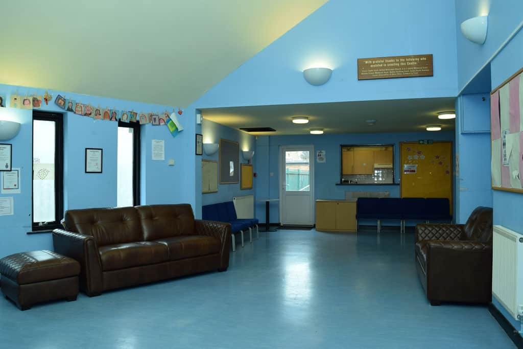 View of foyer adjacent to Youth Hall Hall