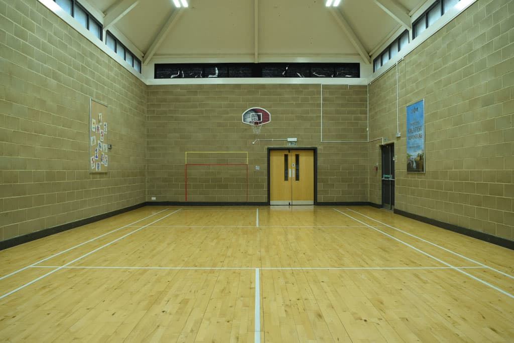 View from front middle of sports hall