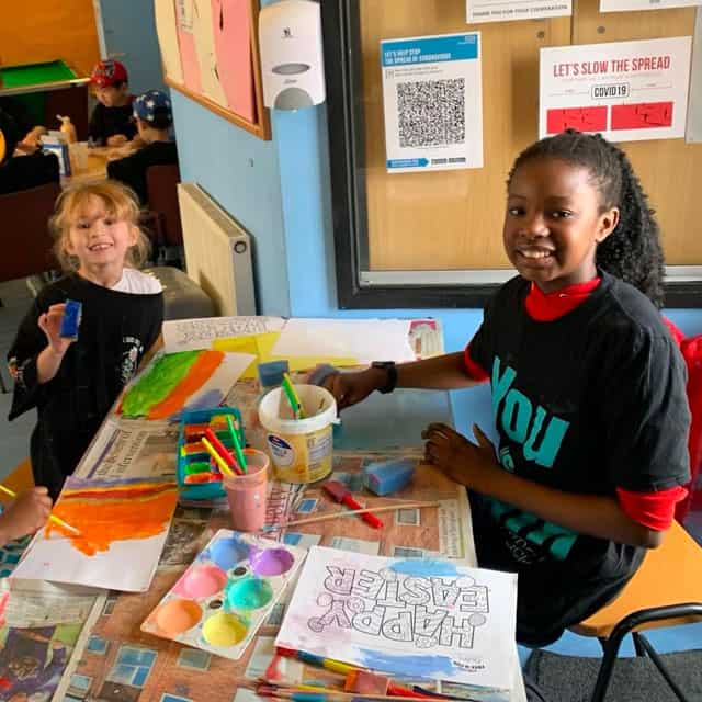 Children doing art at North Avenue Youth Centre